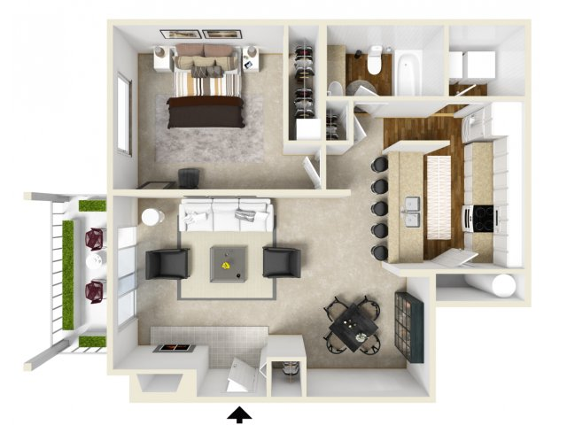 golf creek apartments Portland Or one bedroom floor plan
