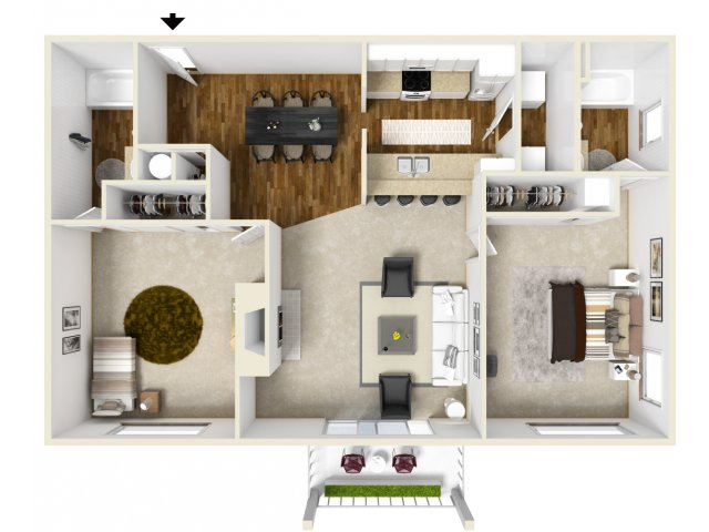 golf creek apartments Portland Or two bedroom floor plan