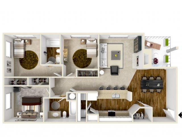 golf creek apartments Portland Or three bedroom floor plan