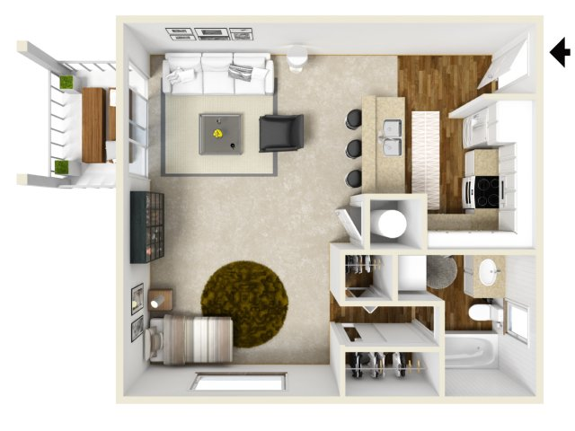 golf creek apartments Portland Or studio floor plan