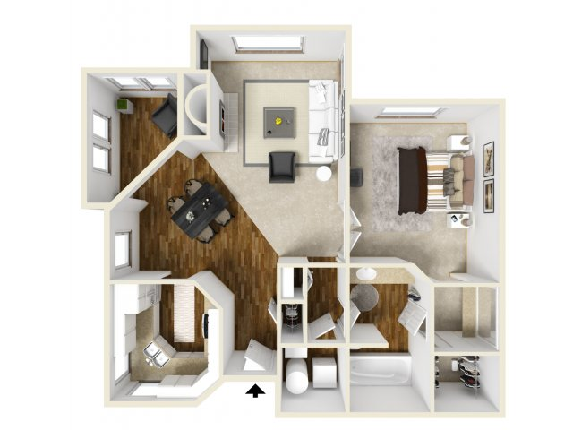 Meridian at Murrayhill one bedroom floor plan