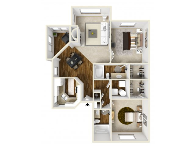 Meridian at Murrayhill two bedroom floor plan