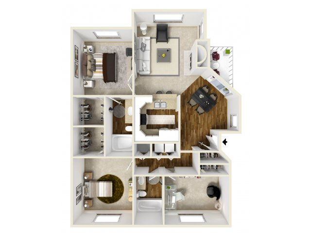 Meridian at Murrayhill three bedroom floor plan