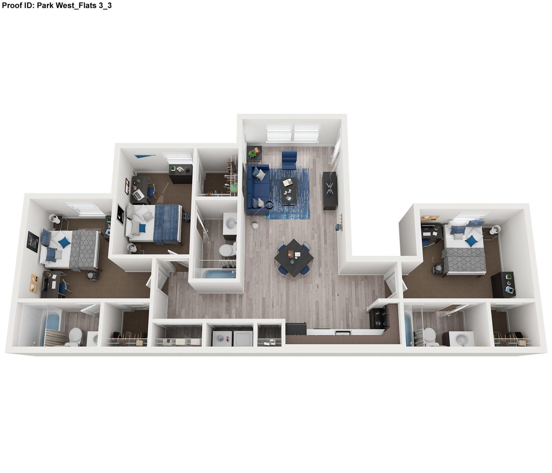 3 bed 3 bath floor plan