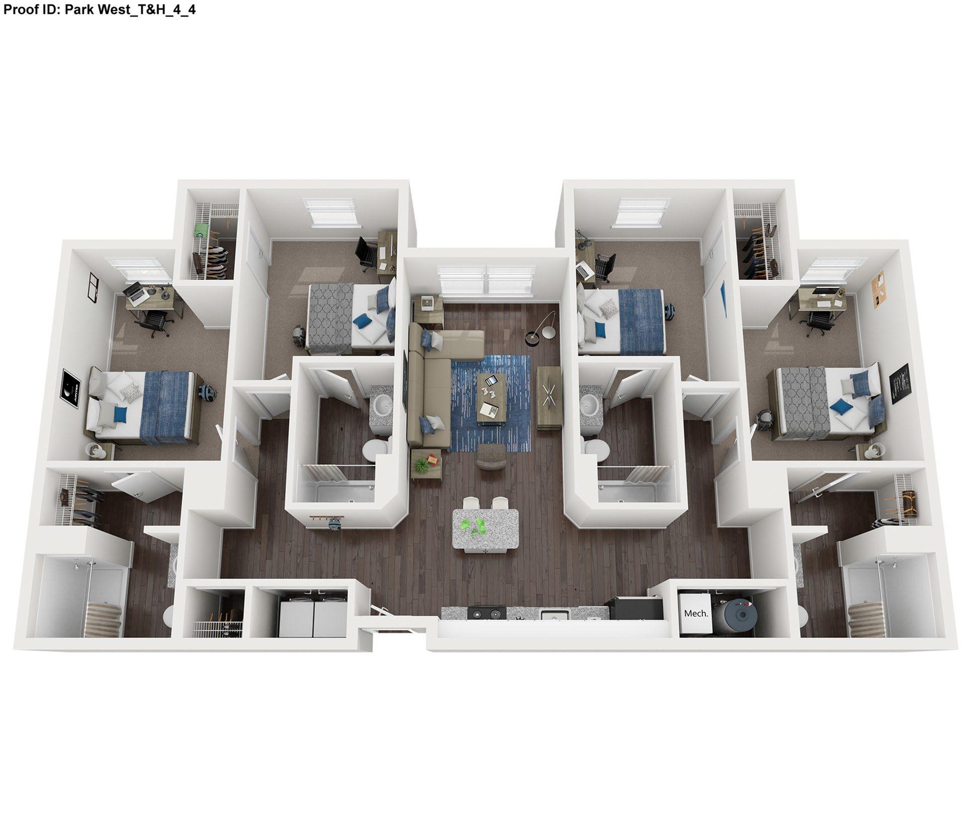 4 Bed 4 Bath Floor Plan