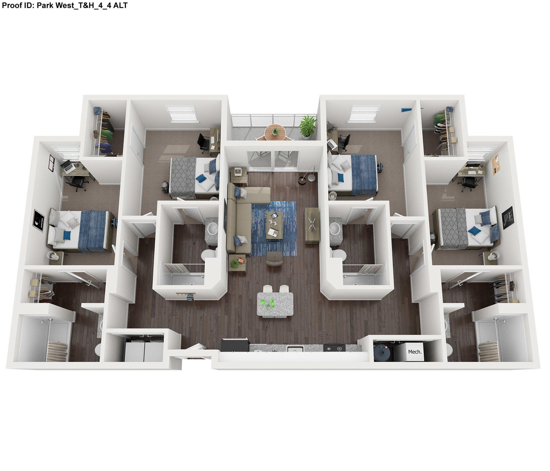 4 Bedroom 4 Bath Floor Plan
