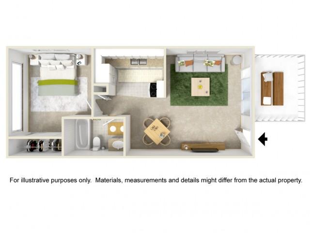 1 Bedroom 1 Bathroom Garden Style Home