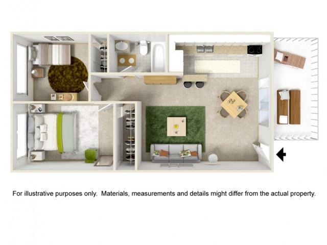 2 Bedroom 1 Bath Garden Style Home