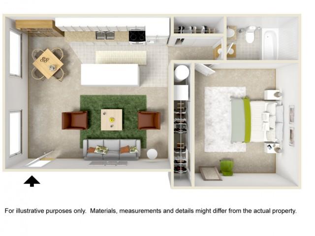 1 Bedroom 1 Bathroom Parkside Style Home
