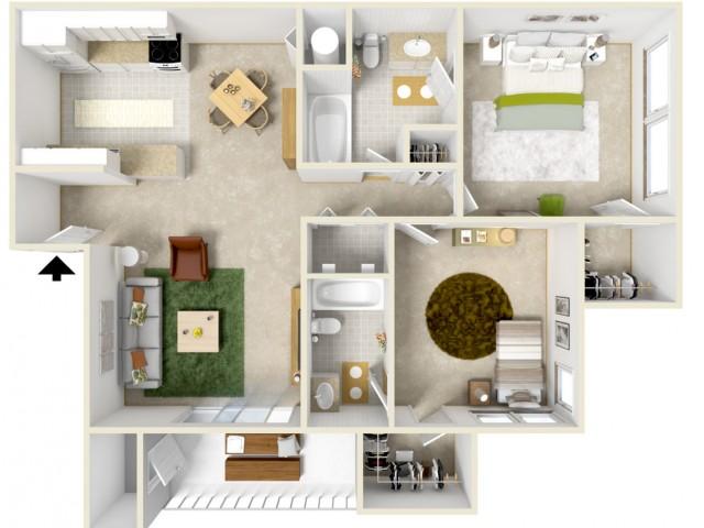 2 Bedroom 2 Bath Courtyard Style Home