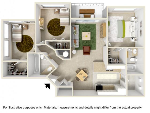 3 Bedroom 2 Bath Courtyard Style Home