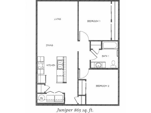 2D Floor Plan image for the Juniper Floor Plan of Property Anasazi Village