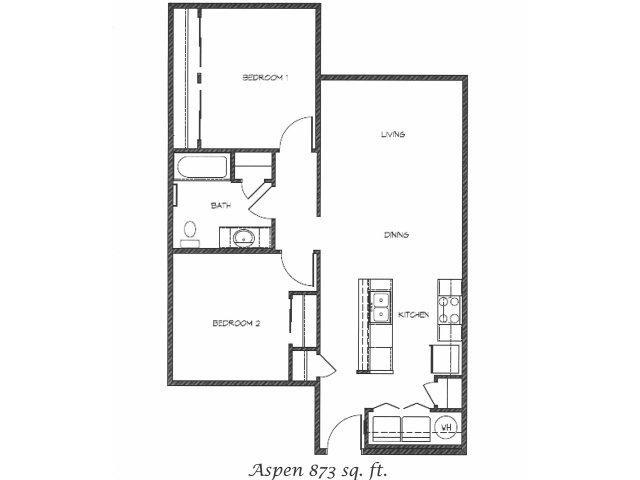 2D Floor Plan image for the Aspen Floor Plan of Property Anasazi Village