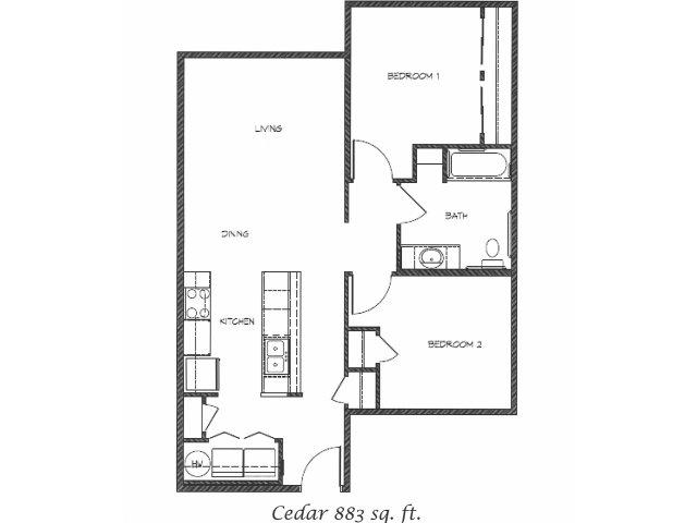 2D Floor Plan image for the Cedar Floor Plan of Property Anasazi Village