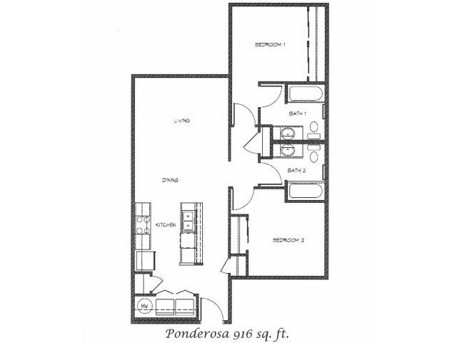 2D Floor Plan image for the Ponderosa Floor Plan of Property Anasazi Village