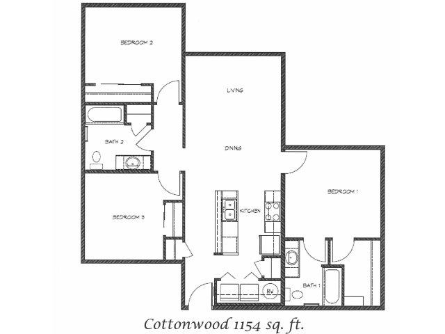 2D Floor Plan image for the Cottonwood Floor Plan of Property Anasazi Village