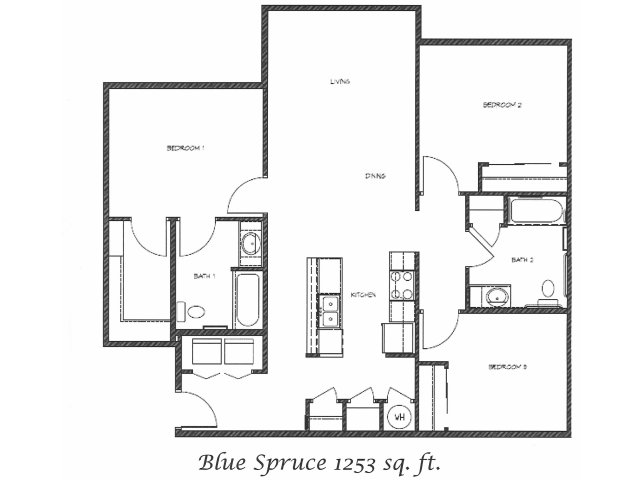 2D Floor Plan image for the Blue Spruce Floor Plan of Property Anasazi Village
