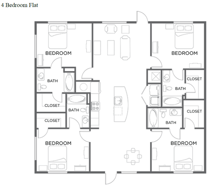 Perfect For The 4 Bedroom Flat Floor Plan.