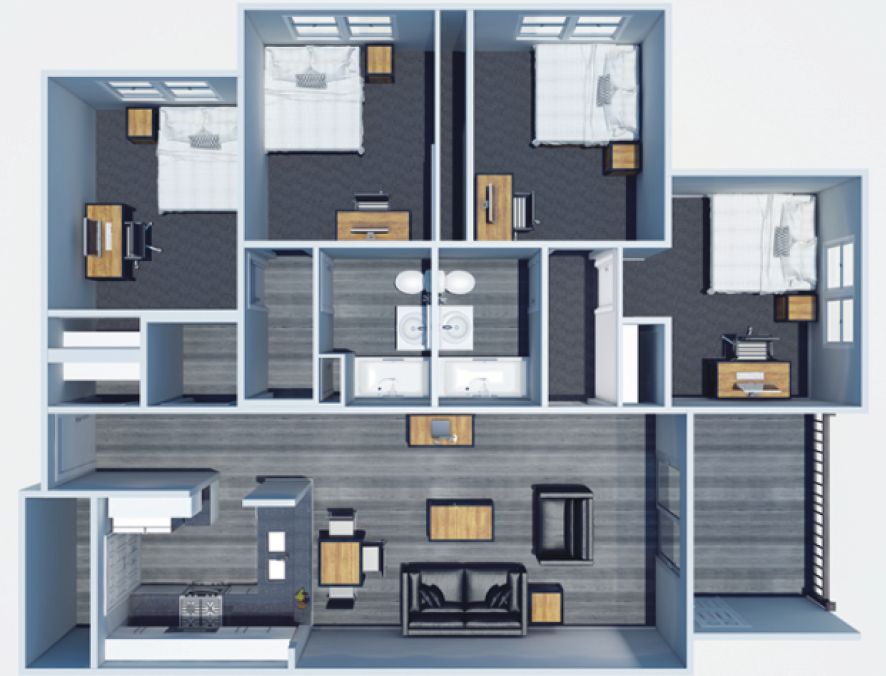 Floor Plans - The Harrison, a student apartment community in ...