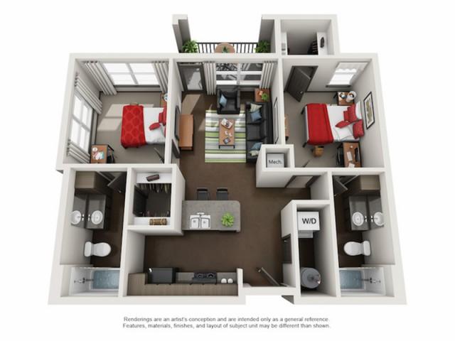 2 bed / 2 bath apartment in tuscaloosa al | crimson