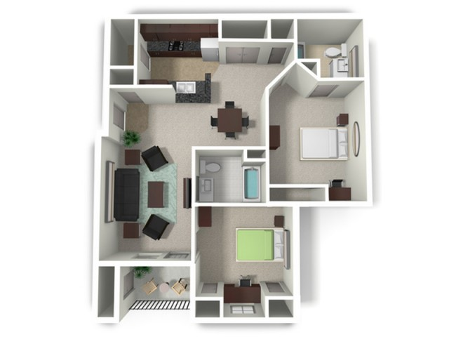 2 Bedroom Floor Plan | Mtsu Apartments | Vie at Murfreesboro