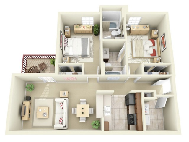 2 Bedroom Floor Plan | Ncsu Apartments Off Campus | Vie at Raleigh
