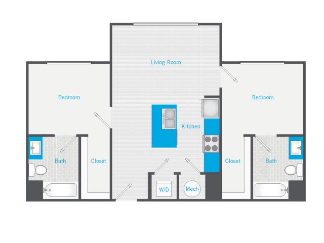 2 Bedroom, 2 Bathroom - Standard