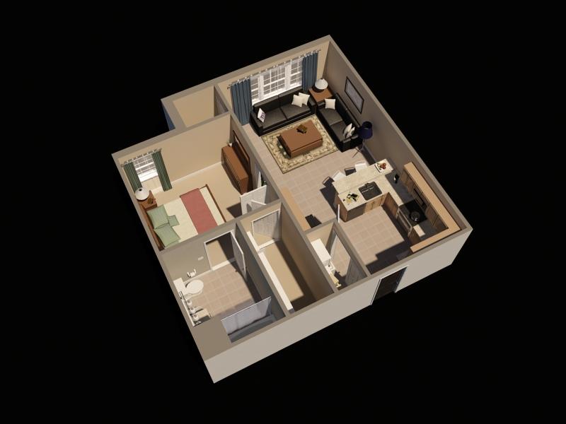 Timbers One Bedroom Virtual Floor Plan   Fort Drum Apartments