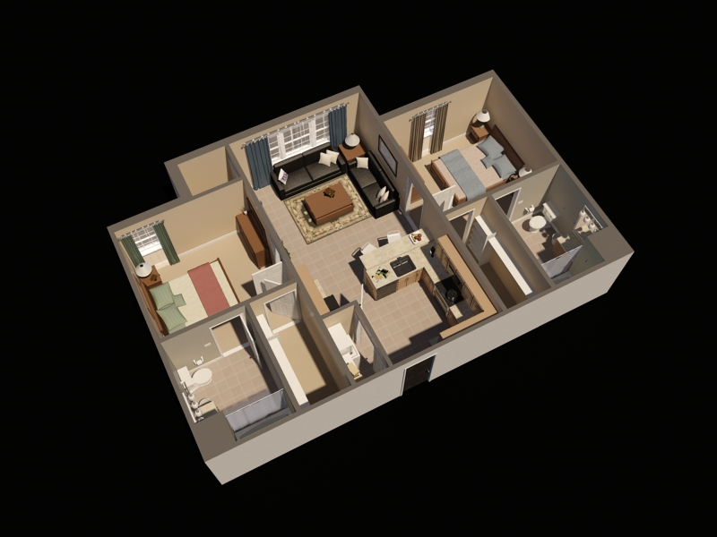 Timbers Two Bedroom Virtual Floor Plan   Fort Drum Apartments