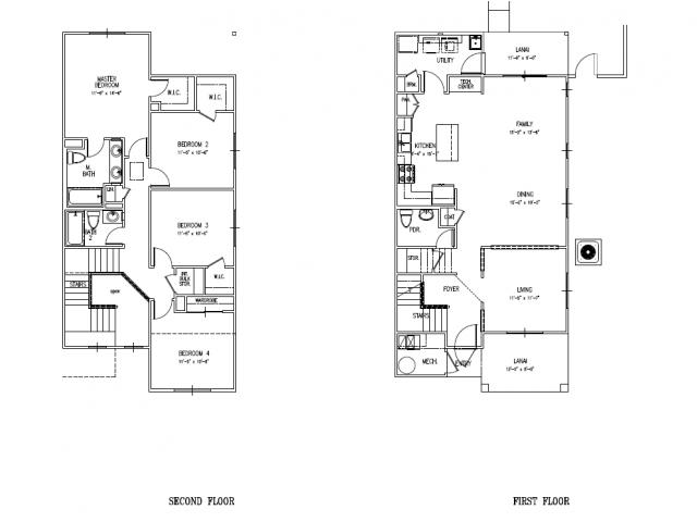 4-bedroom new duplex on Schofield, Wheeler, HMR, floor plan, 1950 sq ft, 4 bedrooms, 2.5 baths, fenced in, one car garage