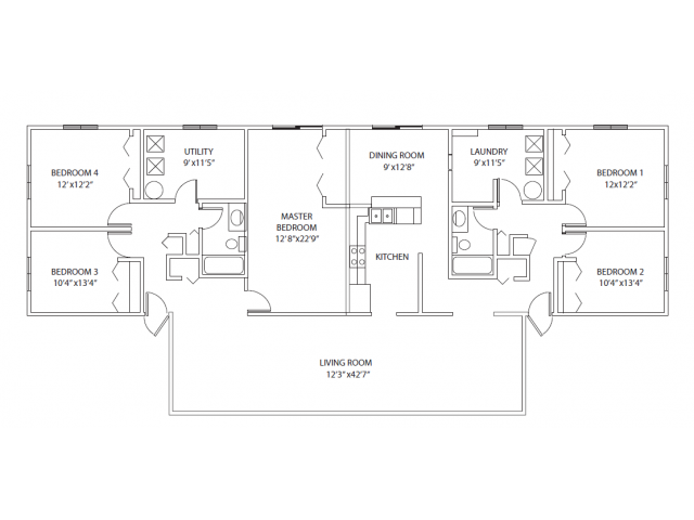 5-bedroom townhome. 1900 sq ft, large floor plan, open layout