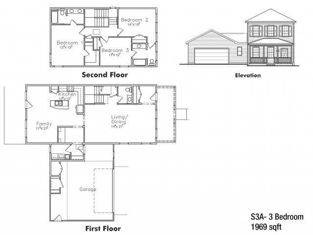 Three bedroom SNCO floor plan | fort drum housing