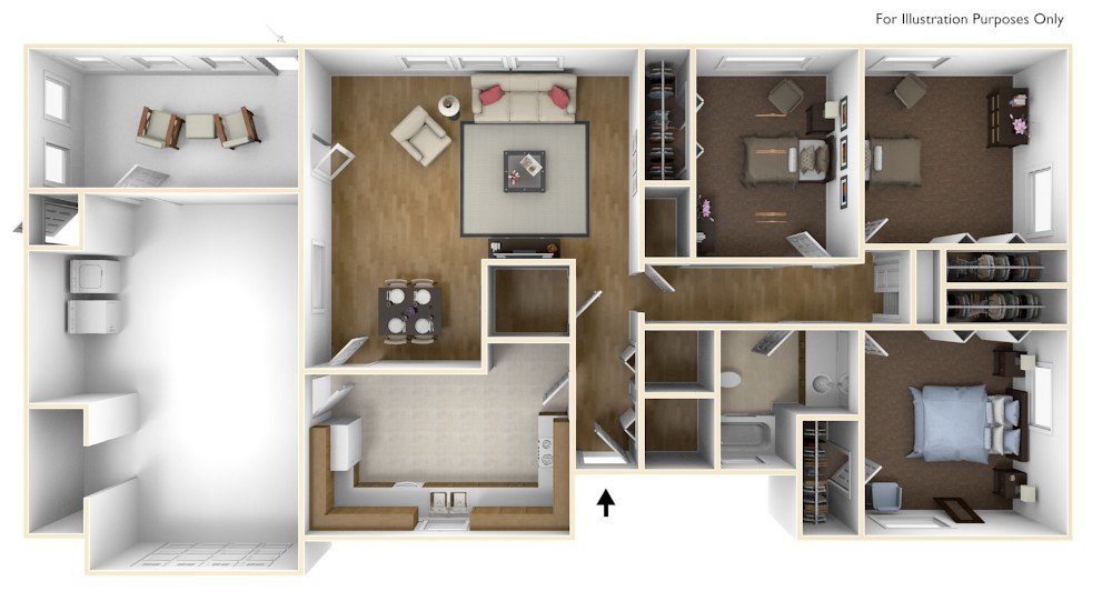 Laurel Bay Lobeco 3D Floor Plan