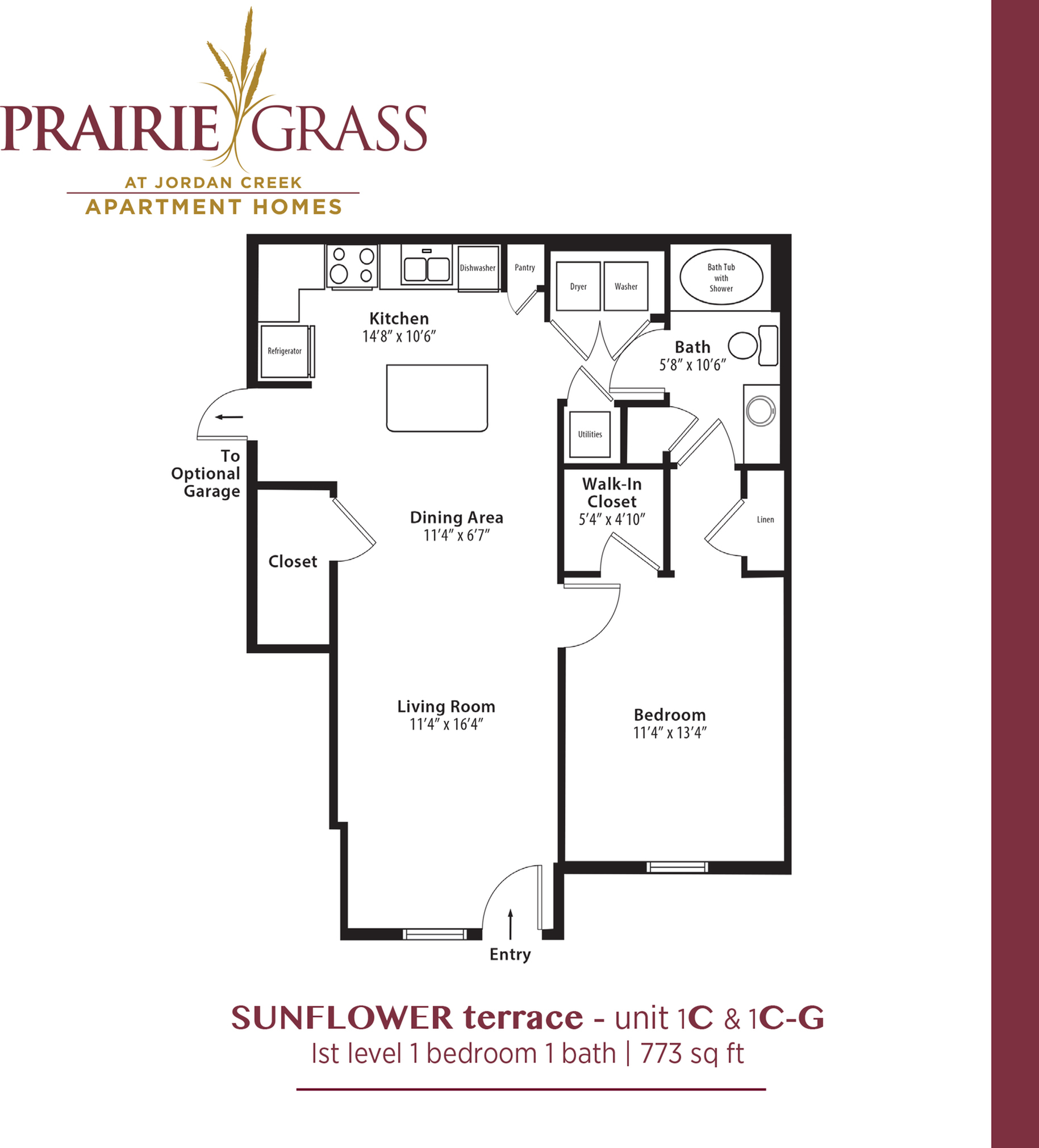 Sunflower Terrace - Lower 1 Bedroom with Attached Garage