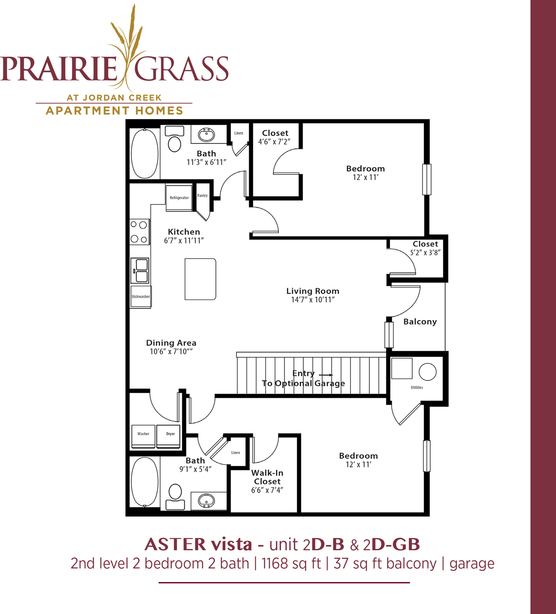 Aster Vista - Upper 2 Bedroom with Balcony and Attached Garage
