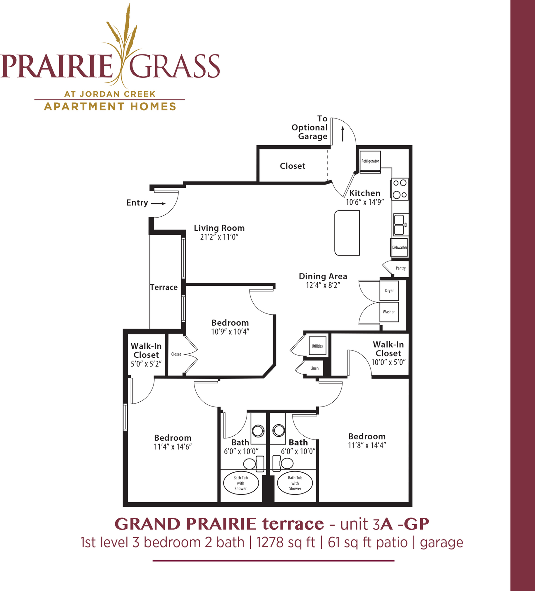 GrandPrairie Terrace - Lower 3 Bedroom with Patio and Attached Garage