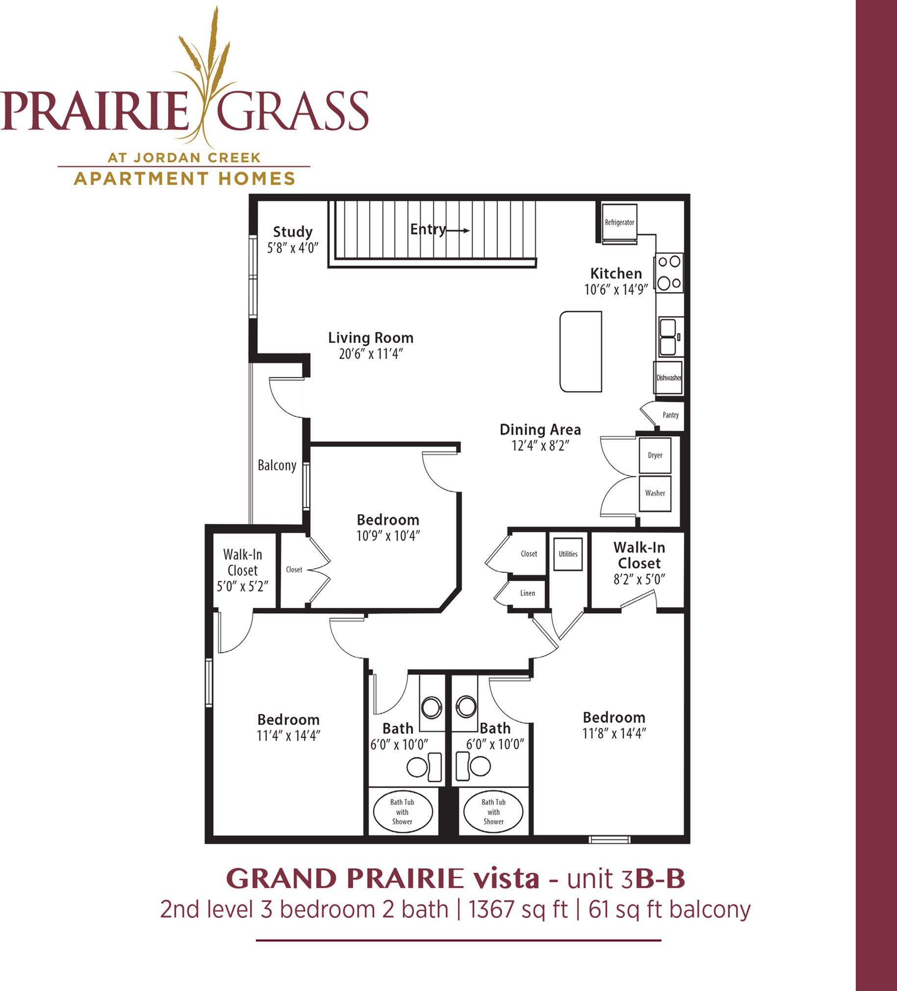 GrandPrairie Vista - Upper 3 Bedroom with Balcony