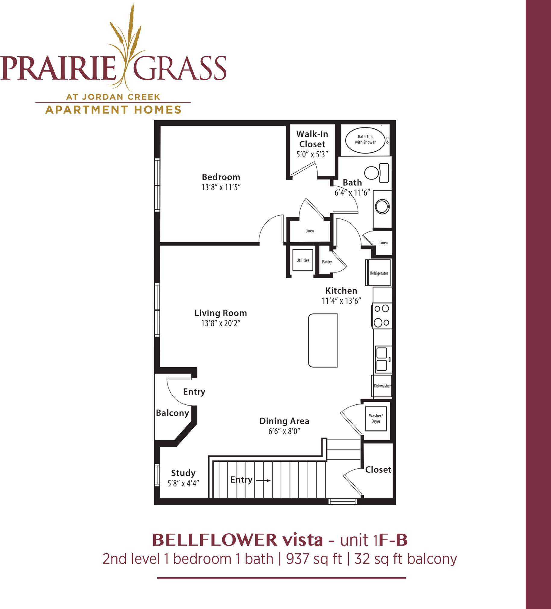 Bellflower Vista - Upper 1 Bedroom with Balcony