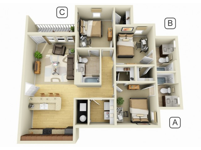 Campus quarters luxury student apartment floor plans for Kitchen designs bloxburg