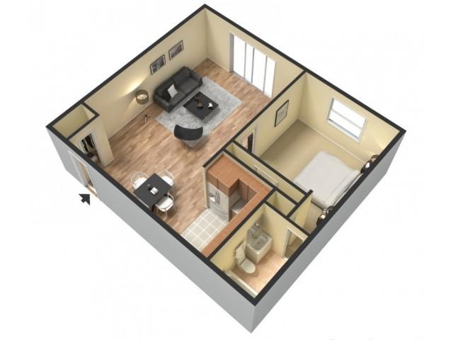 One Bedroom Floor Plan | Colonial Village Apartments