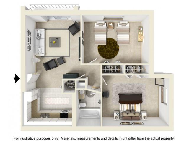 Two Bedroom Floor Plan | Colonial Village Apartments
