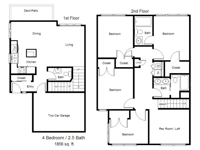 Townhouse floor plans 4 bedroom for Townhouse floor plans 2 bedroom