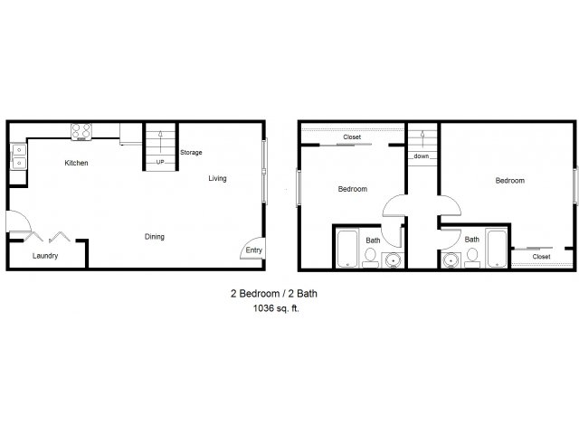 2 Bedroom Townhome Floorplan