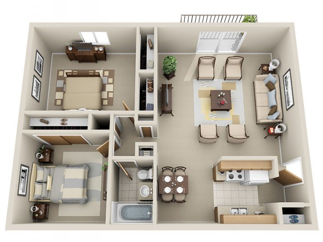 For The 2 Bedroom Apartment Floor Plan.