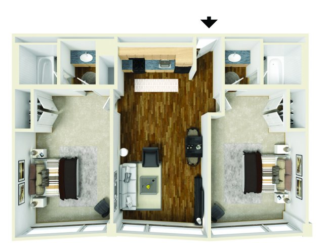 All Floor Plans2 Bedroom. 2 Bed   2 Bath Apartment in St  Louis MO   Downtowner Apartments