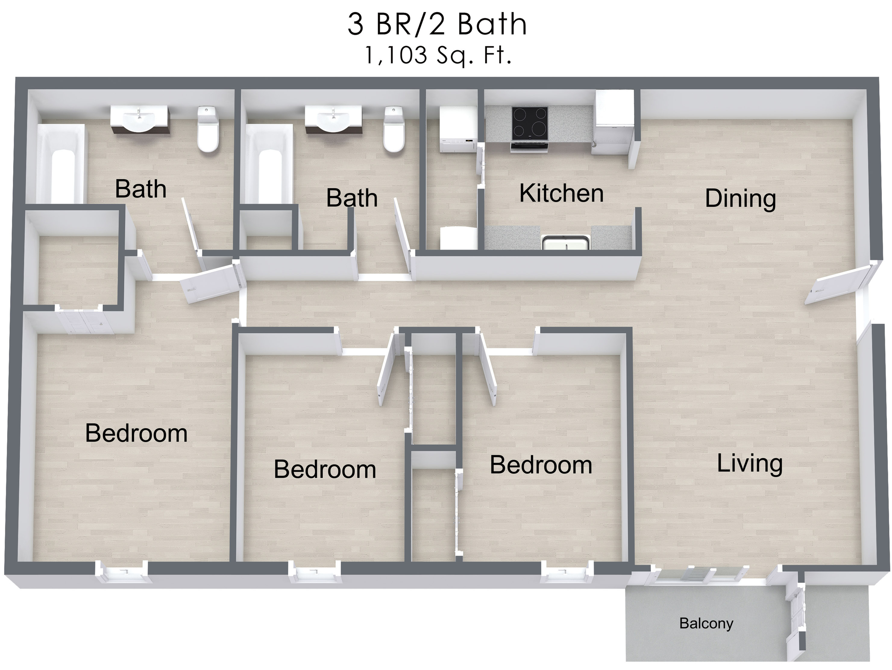 For The 3 Bedroom Apartment Floor Plan.