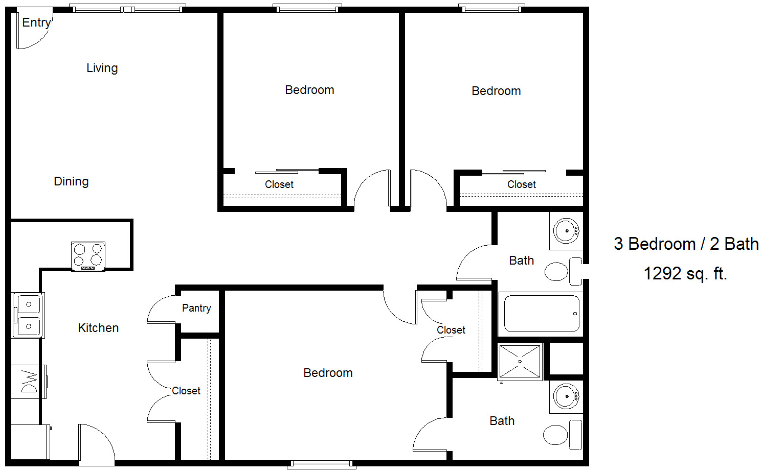 3 Bedroom Townhome Floorplan