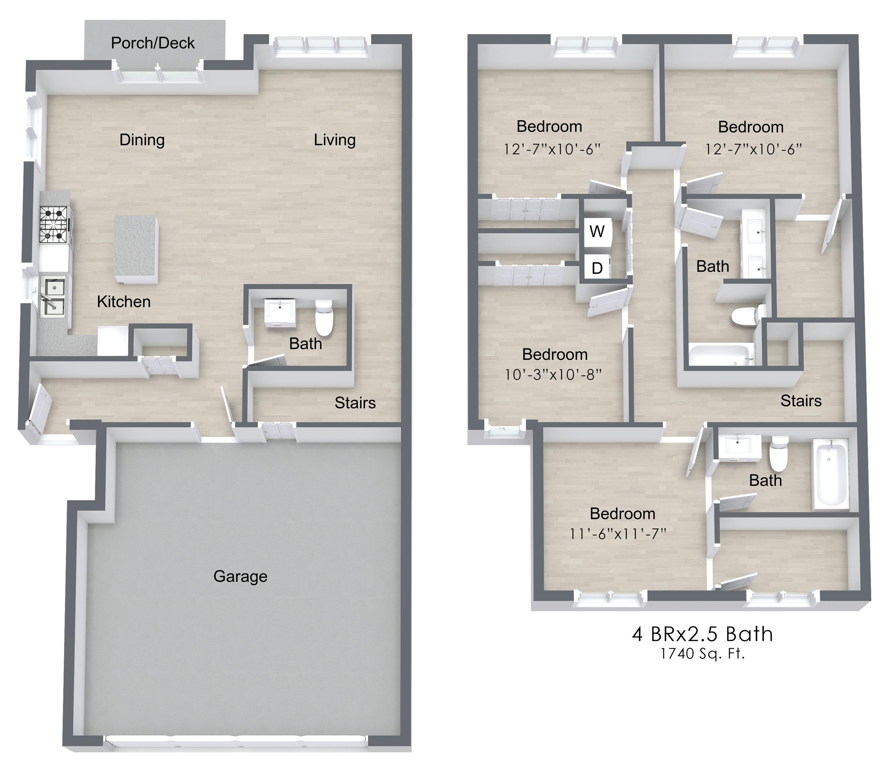 All Floor Plans4 Bedroom. 4 Bed   2 5 Bath Apartment in MEDINA MN   Medina Townhomes