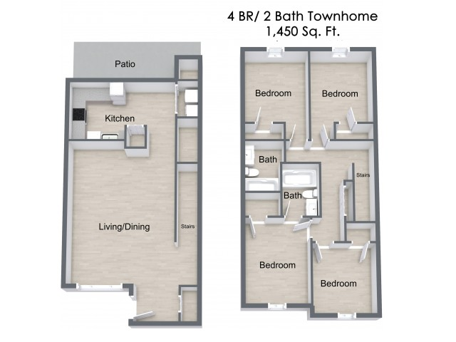 All Floor Plans4 Bedroom Townhome. 4 Bed   2 Bath Apartment in Omaha NE   Bluffs at Cherry Hills