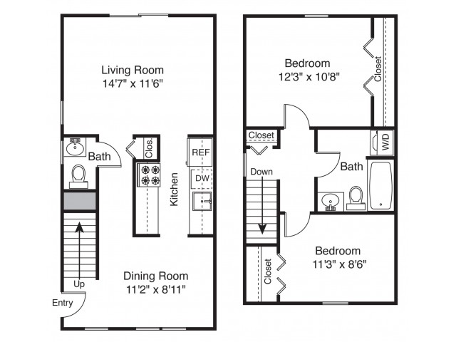 For The 2 Bedroom Townhouse Floor Plan.